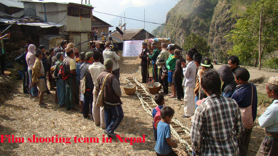 Film shooting in mountain village of Nepal with opening ceremony