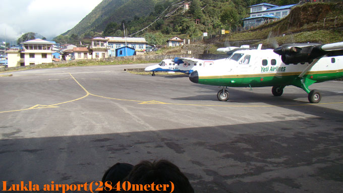 Tha airport and town of the Lukla way to EBC trek.