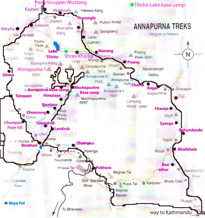 Annapurna circuit tour Map
