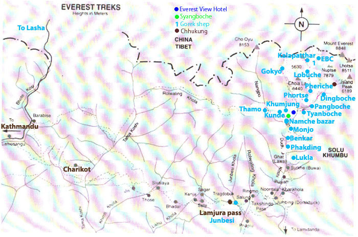 14 days Everest base camp trek Map