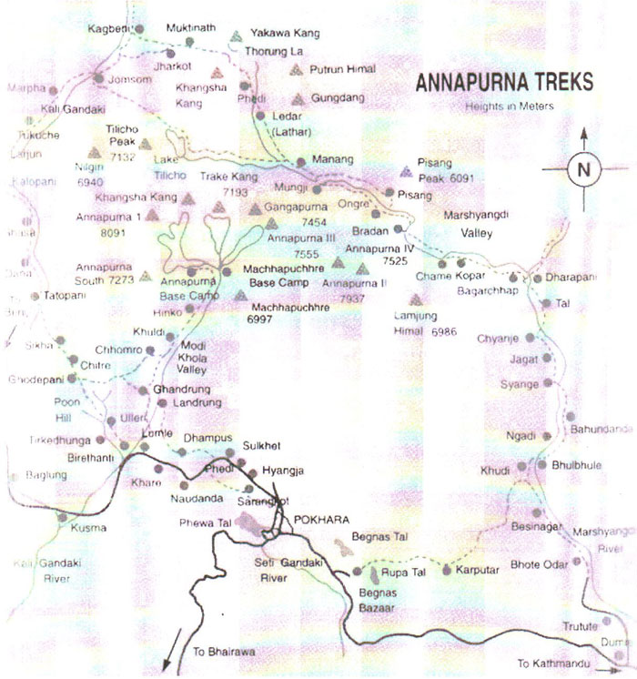 Annapurna Hot Water trekking Map