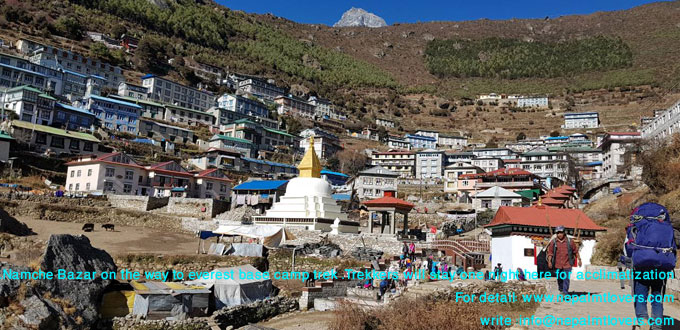 Namche bazar is a beautiful small mountain town on the way to everest base camp trek.