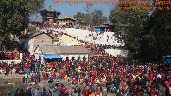 Thousands of people gathering to celebrate swasthani brata katha at salinadi river in kathmandu.