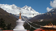 A wonderful glance of Lhotse himal with Stupa.